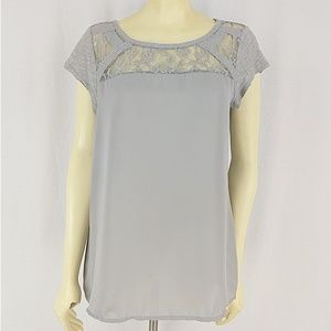 LC Lauren Conrad Gray and Lace Top t-Shirt